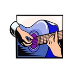 acoustic guitar hand playing bluish graphic