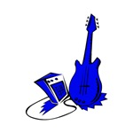 blue guitar and amp