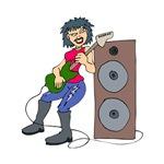 punk guitarist female red shirt