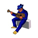 sitting guitarist blue music