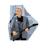 punk guitar singer male grey