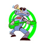 robot playing guitar green