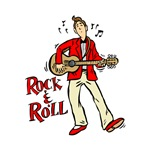 rock n roll guy playing guitar red