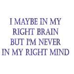I May Be In My Right Brain But I'm Not In My Right