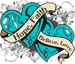 Cervical Cancer Hope Faith Dual Hearts Shirts