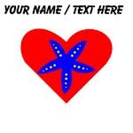 Custom Blue Starfish Heart