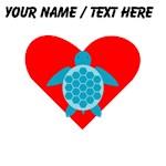Custom Blue Turtle Heart
