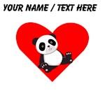 Custom Panda Sitting Down Heart