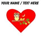 Custom Owl on Branch Heart