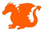 Orange Baby Dragon Silhouette