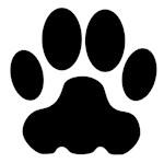 Black Big Cat Paw Print