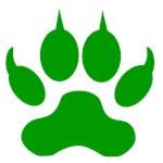 Green Wolf Paw Print