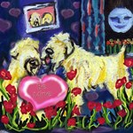 SOFT COATED WHEATEN Valentine be mine heart moon