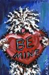 White Puli be mine heart valentine