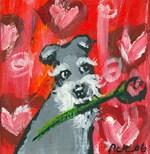 Schnauzer Valentine Rose hearts
