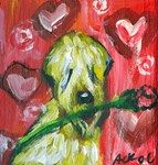 SOFT COATED WHEATEN TERRIER valentine rose hearts