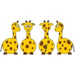 Four Cute Giraffes