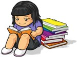 Cartoon of Girl Student Reading Book