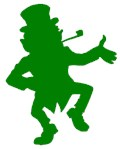 Green Dancing Leprechaun Silhouette