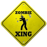 This Zombie Road Sign featuring a Zombie Xing caution road sign is blasted out with shotgun pellets.  Perhaps someone did run across, or over, a zombie while it was crossing the road?  This Zombie Crossing Road sign is perfect as a zombie t shirt for the