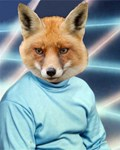 Fox Man Yearbook Photo Altered Art Kawaii Quirky