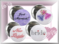 Wedding Ornaments, Buttons and Magnets