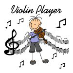 Violin Player Stick Figure T-shirts and Gifts