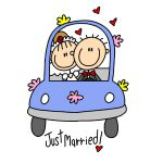 Just Married Stick Figures T-shirts and Gifts
