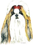 Gold/White Shih Tzu Shirts Clothing Apparel
