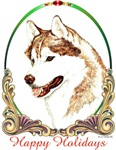Red Siberian Husky Holiday Items & Gifts
