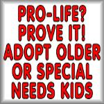 Pro-life? Prove it! Adopt older or...