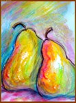 pears, colorful fruit art