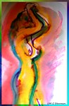 Abstract, bright, colorful nude aart