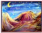 Desert night, art,