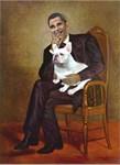 Obama as Lincoln & French Bulldog (W)