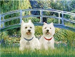 Lily Pond Bridge with<br>Two Westies