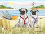 ROBOAT<br> & 2 fawn Pugs