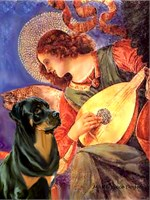 ANGEL WITH MANDOLIN<br>& Rottweiler