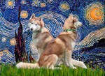 STARRY NIGHT<br>With 2 Red Siberian Huskies