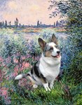 ON THE BANKS OF THE SEINE<br>Blue Merle Welsh Corg