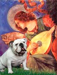 ANGEL WITH MANDOLIN<br>& White English Bulldog