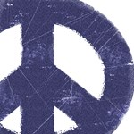 Vintage Blue Peace Sign