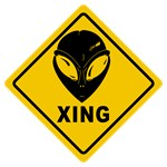 Yellow Alien Crossing Sign
