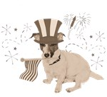 Patriotic Jack Russell with Flag  (Vintage)