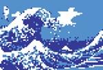 Pixel Tsunami Blue 8 Bit Pixel Art
