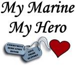 My Marine My Hero Dog Tags with Heart