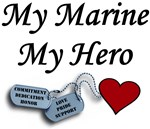 My Marine My Hero Dog Tags with Heart