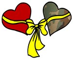 2 Hearts Military Yellow Ribbon