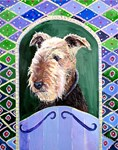 Airedale, other dogs, and original paintings, Cups