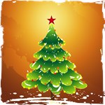 Christmas Tree Gold Background